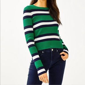 NEW Lilly Pulitzer Green Striped Adeen Sweater